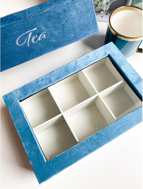 Scatola porta tè in velluto