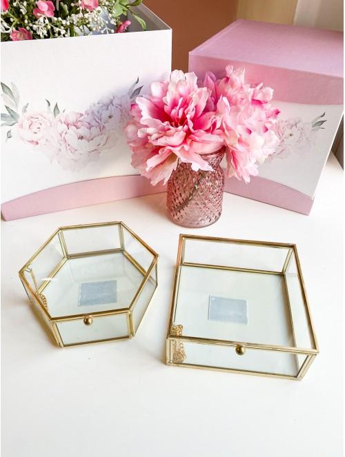 Scatole in vetro con bordo oro